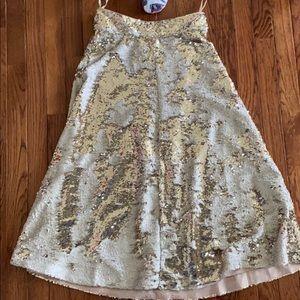 Eliza J gold sequin embellished A-line skirt